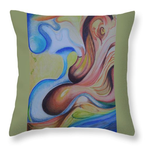 Abstract Throw Pillow featuring the painting On The Island by Suzanne Udell Levinger