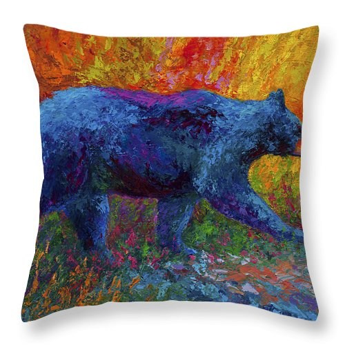 Black Throw Pillow featuring the painting On The Move by Marion Rose