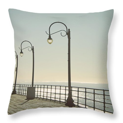 Ocean Throw Pillow featuring the photograph On The Pier by Linda Woods