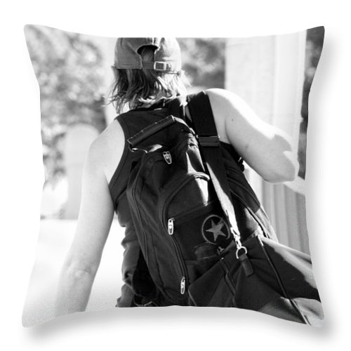 Woman Throw Pillow featuring the photograph On The Road by Elizabeth Hart