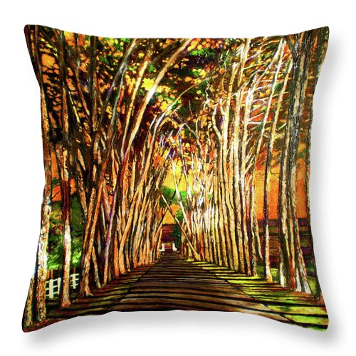 Vineyard Throw Pillow featuring the painting On The Road by Michael Durst