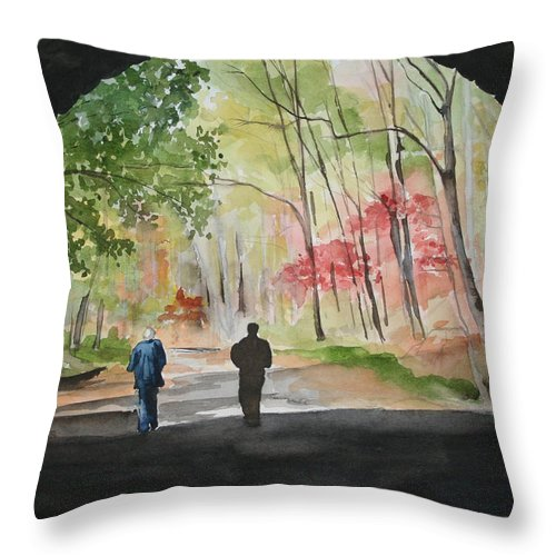 Road Throw Pillow featuring the painting On The Road To Nowhere by Jean Blackmer