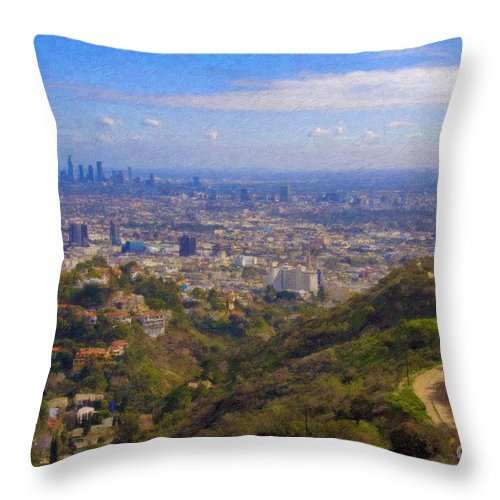 Los Angeles Throw Pillow featuring the photograph On The Road To Oz La Skyline Runyon Canyon Hiking Trail by David Zanzinger
