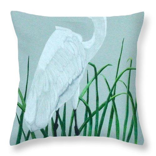 Egret Throw Pillow featuring the painting On The Rocks by Anita Putman