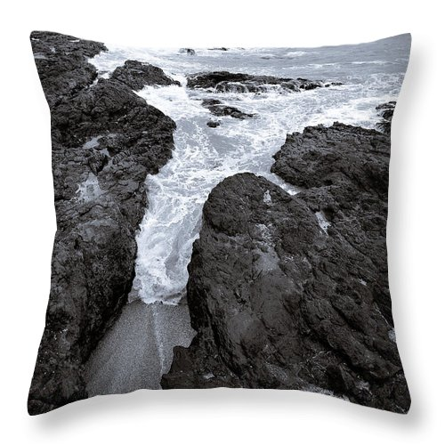 New Zealand Throw Pillow featuring the photograph On The Rocks by Dave Bowman