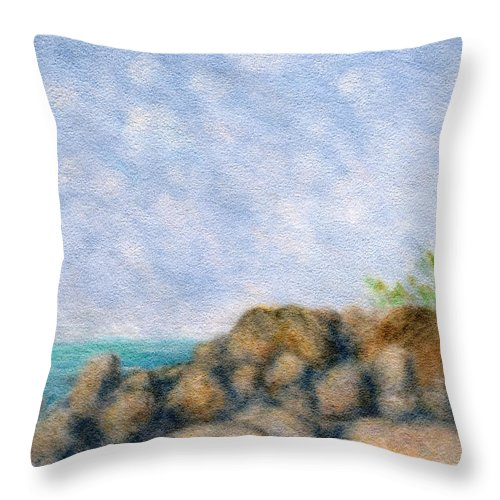 Rainbow Colors Pastel Throw Pillow featuring the painting On The Rocks by Kenneth Grzesik