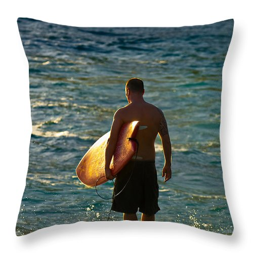 Surfer Throw Pillow featuring the photograph On The Rocks by Marvin Rivera