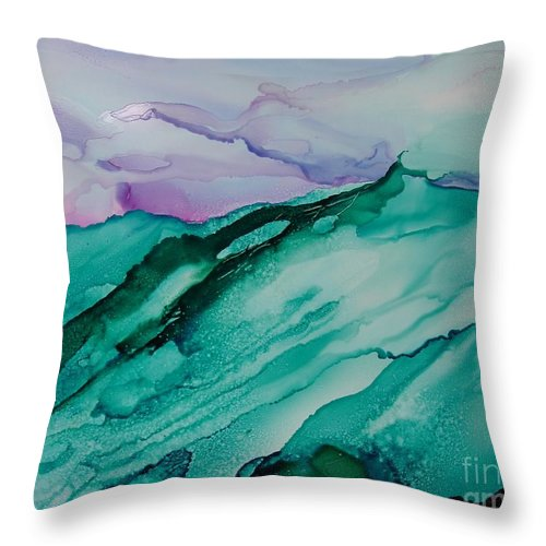 Ocean Throw Pillow featuring the painting On The Rocks by Susan Kubes