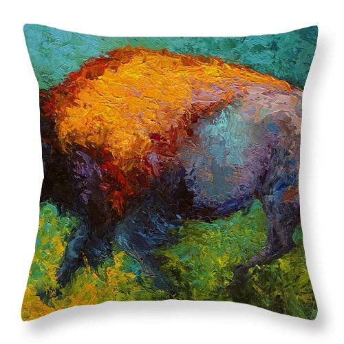 Bison Throw Pillow featuring the painting On The Run by Marion Rose