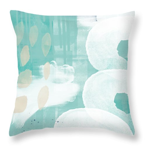 Beach Throw Pillow featuring the mixed media On The Shore- Abstract Painting by Linda Woods