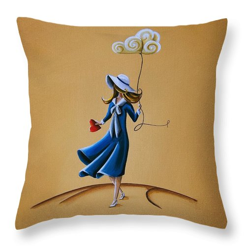 Girl Throw Pillow featuring the painting On The Street Where You Live by Cindy Thornton