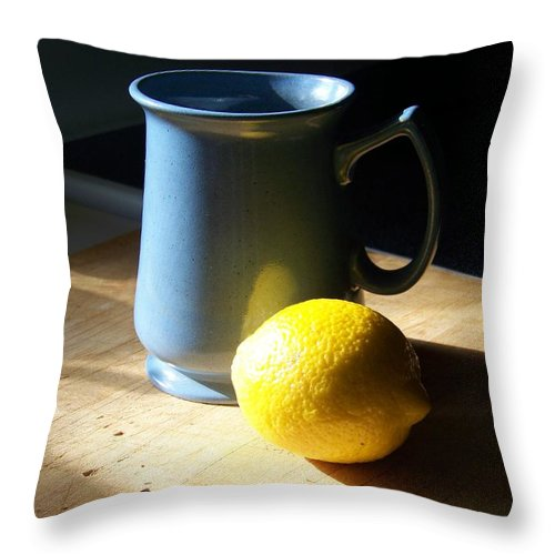 Blue Throw Pillow featuring the photograph On The Table 3 - Photograph by Jackie Mueller-Jones