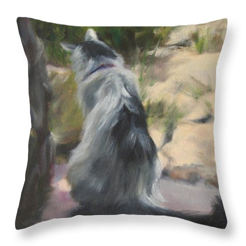 Cat Throw Pillow featuring the painting On The Threshold by Connie Schaertl
