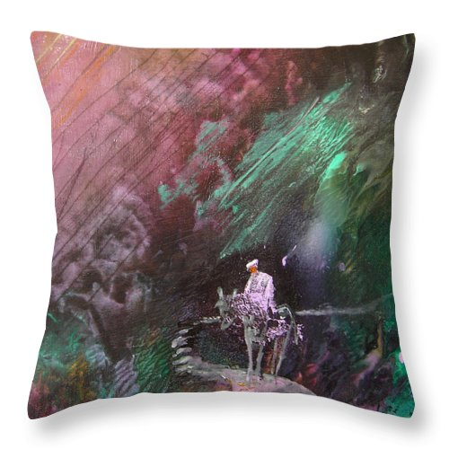 Acrylics Throw Pillow featuring the painting On The Way by Miki De Goodaboom