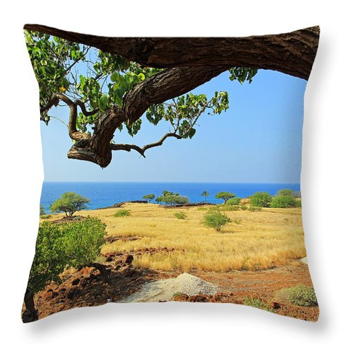 Lapakahi State Historical Park Throw Pillow featuring the photograph On The Way To Lapakahi by Jennifer Robin