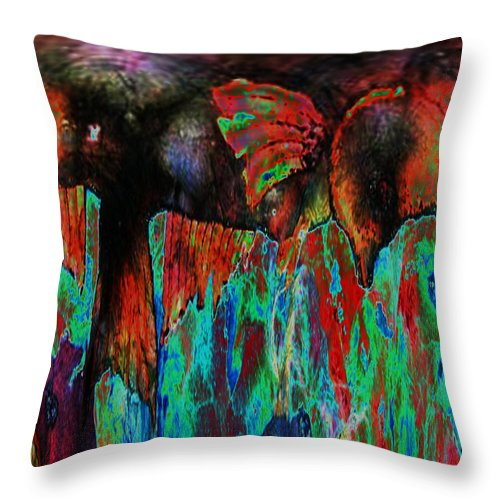 Wild Throw Pillow featuring the mixed media On The Wild Side by Sue Duda