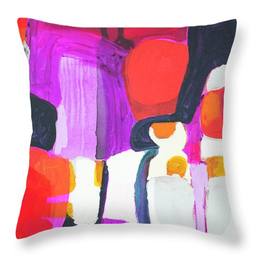 Abstract Throw Pillow featuring the painting On Time by Claire Desjardins