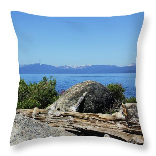 Lake Tahoe Throw Pillow featuring the photograph On Top Of Snow Caps by Russell Barton