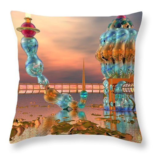 Landscape Throw Pillow featuring the digital art On Vacation by Dave Martsolf