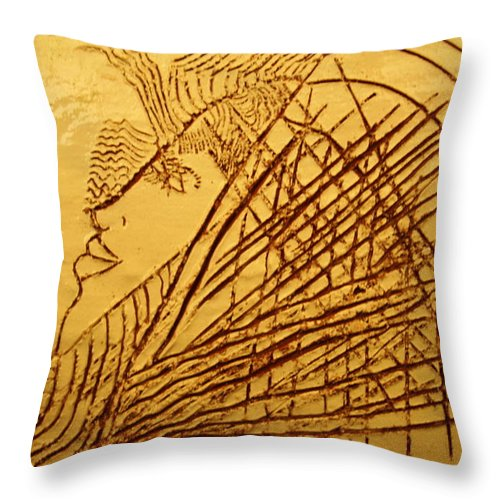 Jesus Throw Pillow featuring the ceramic art Once - Tile by Gloria Ssali