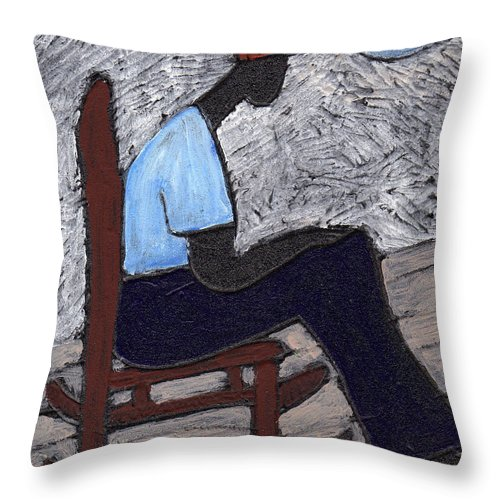 Rocking Chair Throw Pillow featuring the painting Once In A Blue Moon by Wayne Potrafka