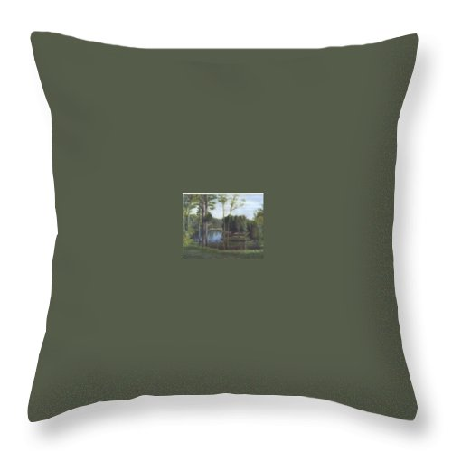 Landscape Throw Pillow featuring the painting Once by Sheila Mashaw