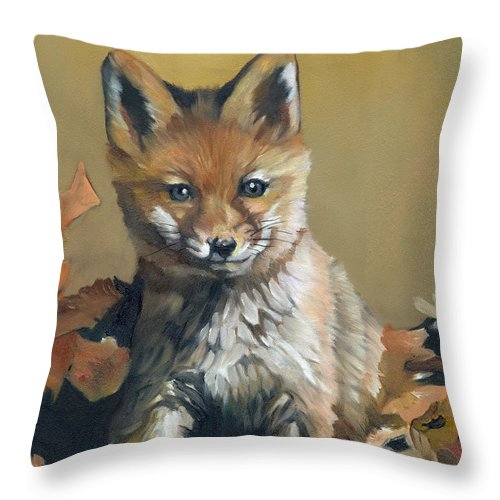 Fox Throw Pillow featuring the painting Once Upon A Time by J W Baker