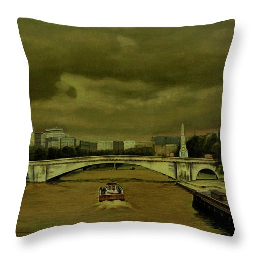 Paris Throw Pillow featuring the painting Oncoming Storm Paris France by Thu Nguyen