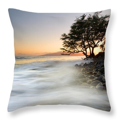 Sunset Throw Pillow featuring the photograph One against the Tides by Mike Dawson