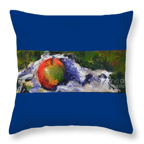 Apple Throw Pillow featuring the painting One Apple by Patricia Caldwell