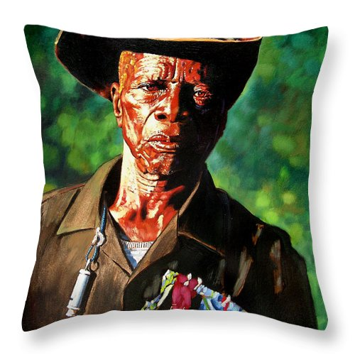 Black Soldier Throw Pillow featuring the painting One Armed Soldier by John Lautermilch