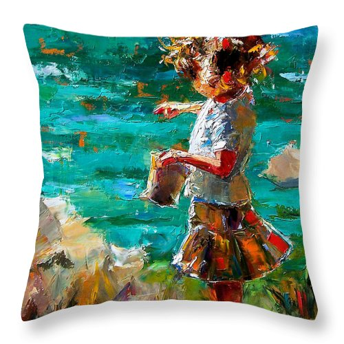 Children Throw Pillow featuring the painting One At A Time by Debra Hurd