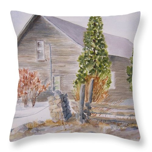 Throw Pillow featuring the painting One Bit Of History - Bridge End by Jackie Mueller-Jones