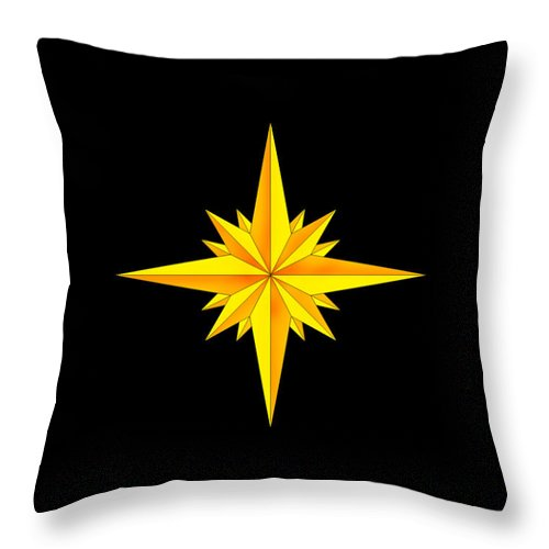 Compass Throw Pillow featuring the painting One Brite And Shining Star by Anne Norskog