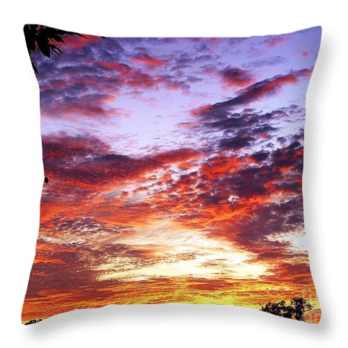 Kansas Throw Pillow featuring the photograph One Dawn Autumn Sky by Concolleen's Visions Smith