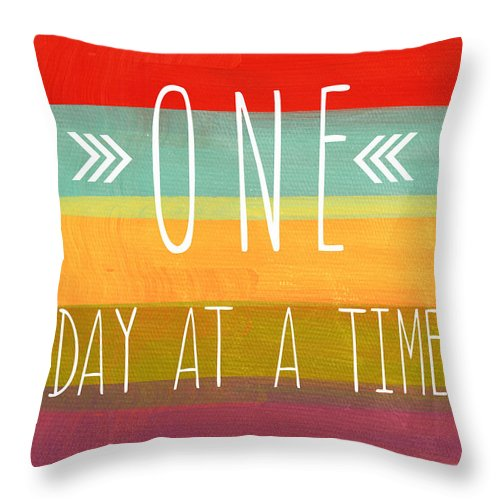 one Day At A Time Throw Pillow featuring the mixed media One Day At A Time by Linda Woods