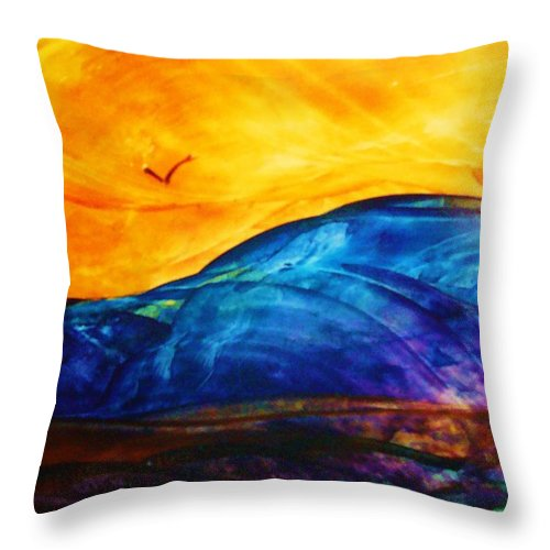 Landscape Throw Pillow featuring the painting One Fine Day by Melinda Etzold