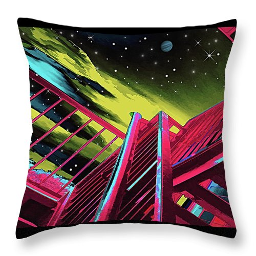 Wendy J. St. Christopher Throw Pillow featuring the digital art One Flight Up by Wendy J St Christopher