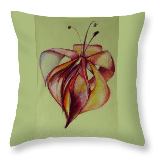 Flower Throw Pillow featuring the painting One Flower by Cristina Rettegi