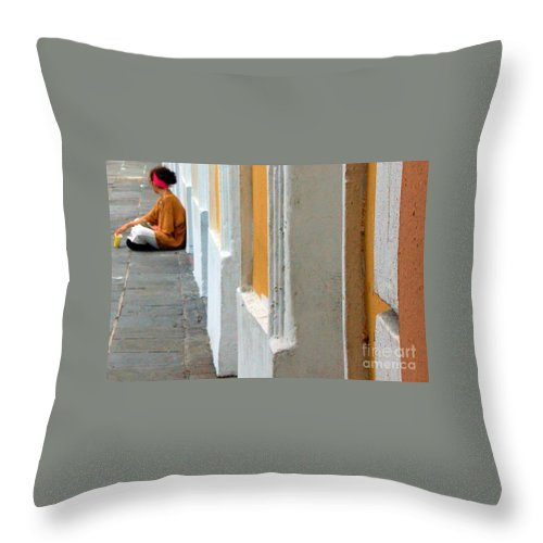 Sidewalk Throw Pillow featuring the photograph One Is The Loneliest Number by Debbi Granruth