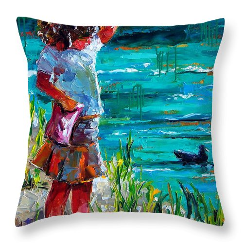 Children Throw Pillow featuring the painting One Lucky Duck by Debra Hurd