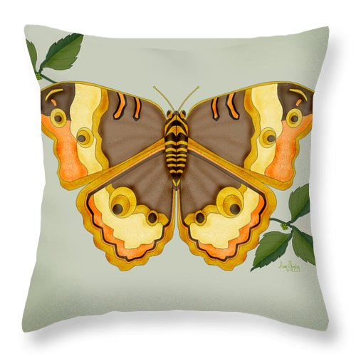 Butterfly Throw Pillow featuring the painting One More Jewel For The Garden by Anne Norskog