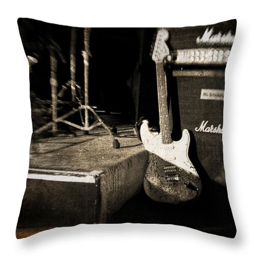 Guitar Throw Pillow featuring the photograph One More Show by Scott Pellegrin