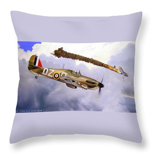 Aviation Art Throw Pillow featuring the painting One Of The Few by Marc Stewart