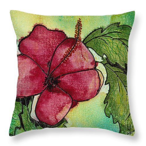 Flower Throw Pillow featuring the painting One Pink Hibiscus by Susan Kubes