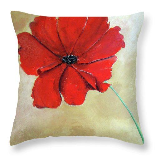 Poppy Throw Pillow featuring the painting One Poppy by Gary Smith