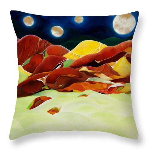 Oil Throw Pillow featuring the painting One Step Up From Third by Peggy Guichu