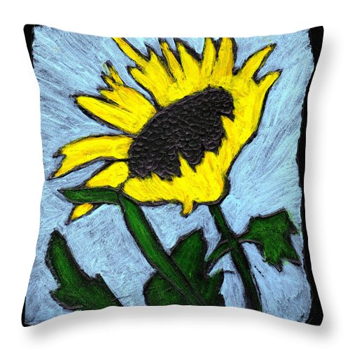 Flower Throw Pillow featuring the painting One Sunflower by Wayne Potrafka