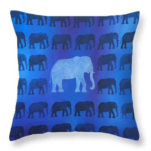 Elephant Throw Pillow featuring the painting One Thousand Goodbyes by Emily Page