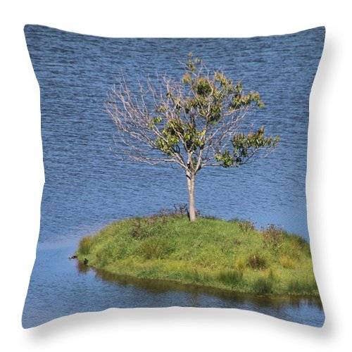Landscape Throw Pillow featuring the photograph One Tree Island by Mikhael van Aken